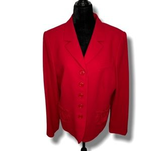 TULLO Made in Germany Red 100% Wool Blazer SZ 12